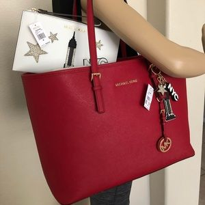 NWT Michael Kors Cherry Red🍒 Travel Tote Set